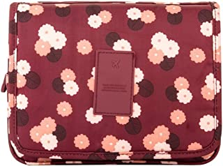 Mr. Pro Waterproof Travel Kit Organizer Bathroom Storage Cosmetic Bag Carry Case Toiletry Bag with Hanging Hook (Flowers maroon)