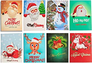 8 Packs Christmas Cards 5D DIY Diamond Painting Rhinestone Pictures of Crystals Embroidery Kits Arts Round Drill Greeting Thank You Cards Creative