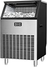 Antarctic Star Commercial Ice Makers Machine Stainless Steel Makers 200 Lbs of Ice Per 24H with 48 Pounds Storage Capacity Ice Cubes Freestanding Party/Bar/Restaurant Scoop Connection Hose Silver