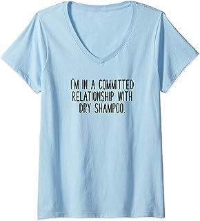 Donna Ho una relazione impegnata capelli di bellezza dello shampoo Maglietta con Collo a V