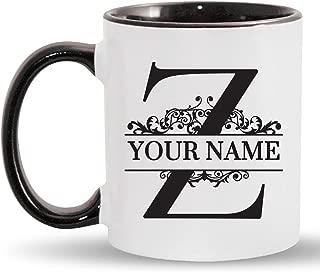 Z - Custom Monogram Coffee Mugs - ADD YOUR NAME - Personalized Ceramic Cups - 11oz