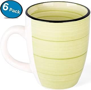 LVKH Juego de Tazas (Mugs de Café) - de Cerámica (6 Piezas, 375 ml, Verde)