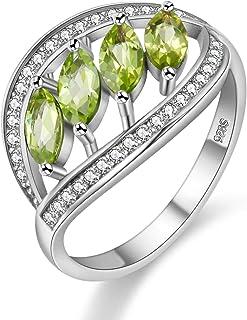 Uloveido August Birthstone Natural Peridot Anniversary Leaf Ring Sterling Silver for Women Gift Box FJ110