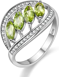 August Birthstone Natural Peridot Anniversary Leaf Ring Sterling Silver for Women Gift Box FJ110