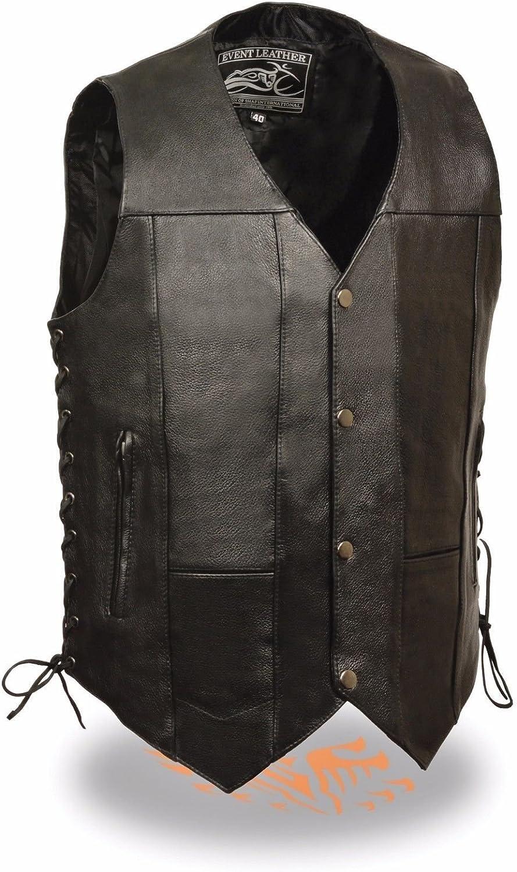 Event Leather EL5391 Men's Black Leather 10 Pocket Side Lace Vest - 6X-Large