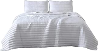 Valkyrie 3-Piece Channel Cross Stitch Quilt Set - Soft Washed Microfiber Lightweight Quilted Bedspread Set (Queen, White)