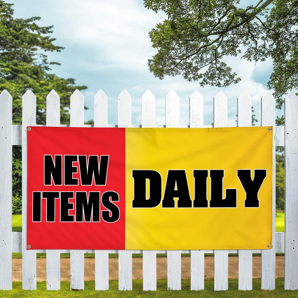 Vinyl Banner Multiple Sizes New Items Daily Advertising Printing C Business Outdoor Weatherproof Industrial Yard Signs Red 10 Grommets 60x144Inches
