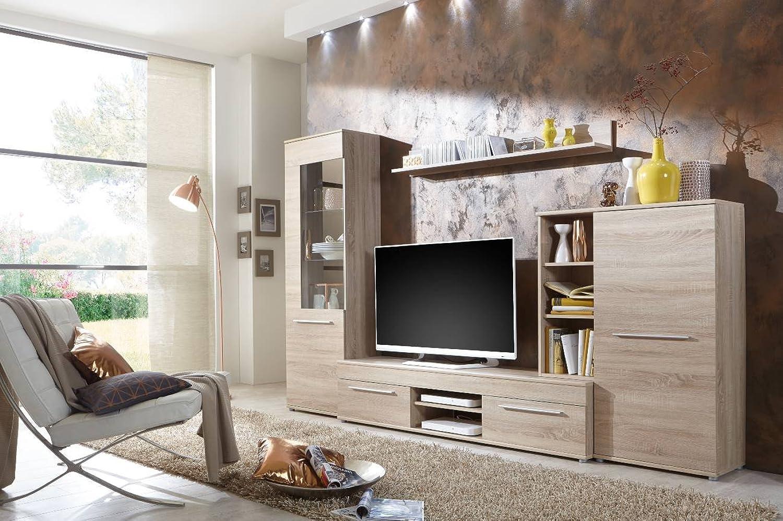 Wohnwand Wohnzimmerschrank Schrankwand TV-Element Anbauwand CANNES in Eiche Sonoma - 288 cm breit   181 cm hoch   36 cm tief Made in Germany
