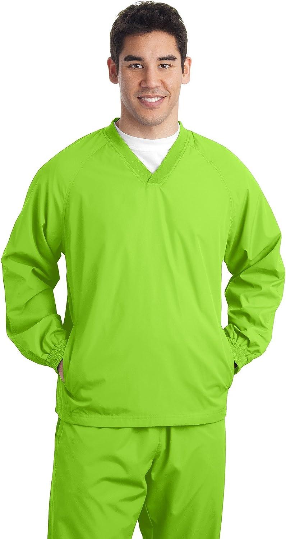 Sport-Tek Tall V-Neck Raglan Wind Shirt. TJST72 Lime Shock LT