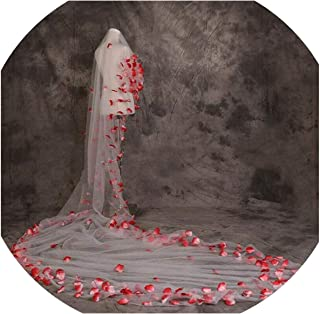 5 Meters 3D Floral Wedding Veils Tulle Gorgeous Red Bridal Cathedral Veil Bride Hair Accessory