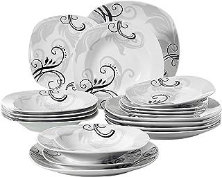 VEWEET Zoey 18pcs Assiettes Pocelaine Service de Table 6pcs Assiettes Plates 24,7cm, 6pcs Assiette Creuse 21,5cm, 6pcs Ass...