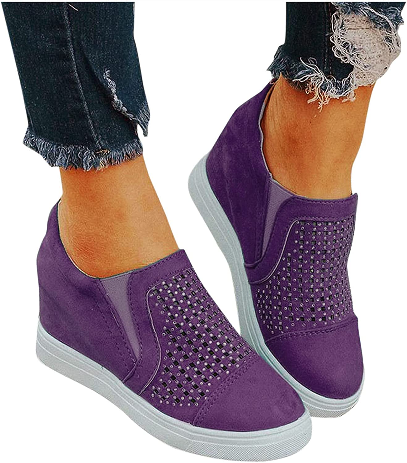 soyienma Ankle Boots for Women,Women Ladies Flat Boots Ankle Short Booties Retro Zipper Up Dressy Wedge Heel Breathable Shoes