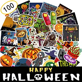 Halloween Luggages Stickers, 100pcs Halloween Decoration Cool Skull Crazy Stickers Decals for Laptops Luggages Water Bottle and Helmet (Halloween Style1)