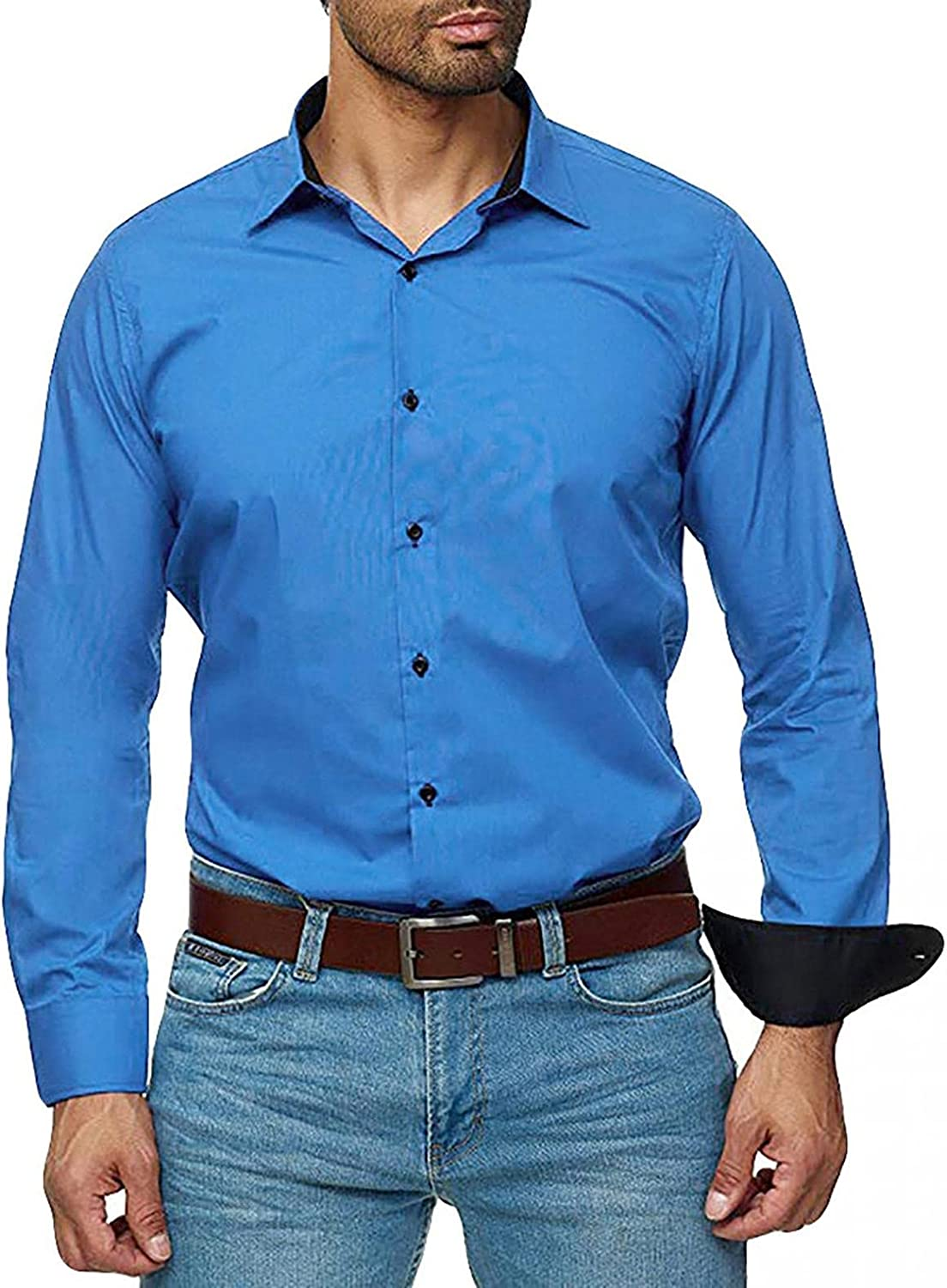KEEYO Mens Dress Shirts Long Sleeve Muscle Fit Business Work Casual Wrinkle-Free Button Down Cotton Shirts Tops S-3XL