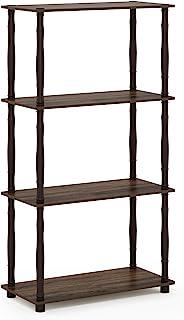Furinno Turn-N 4-Tier Multipurpose Shelf Display Rack with Classic Tubes, Walnut/Brown