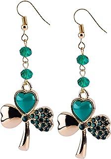 SIX Glücksbringer Ohrringe: Goldene Kleeblatt Ohrhänger mit grünen Glasperlen und kleinen Strasssteinen, perfektes Accessoire für St. Patric (761-044)