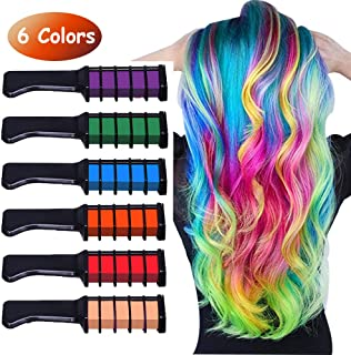 Runlong Hair Chalk Comb 6 Colors, Temporary Hair Color Dye for Teen Girls, Cosplay, Halloween, Ball Party DIY Hair Style Highlight, Easy Dye and Wash Out, Christmas Birthday Gifts For Girls (6 Colors)