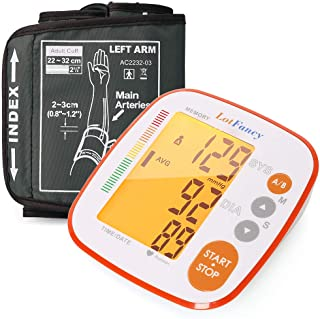 LotFancy Blood Pressure Monitor Upper Arm, 250 Reading Memory, 2 User, FDA Certified, Automatic Blood Pressure Cuff, Digital BP Meter with Large LCD Display & Carrying Case for Home Use