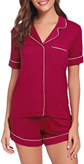 Sponsored Ad - TIKTIK Pajamas Set Short Sleeve Sleepwear Womens Button Down Nightwear Soft Pj Lounge Sets S-4XL