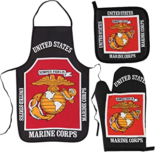 U.S. Marine Corps Kitchen & BBQ Set *New* w/ Apron, Oven-mitt and Pot holder United States Marines