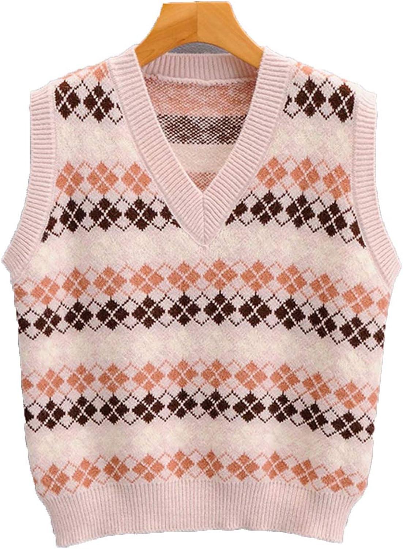 Women Vests Sweater Pullover Diamond V-Neck Sweater Women Cotton Warm Fashion Pullover Sweater