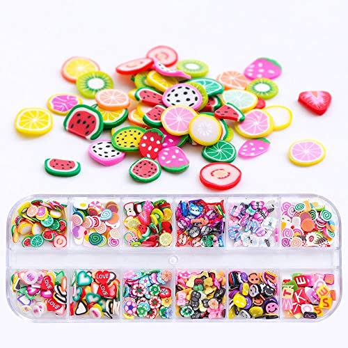 12 Designs Nail Art Stickers 3D Tiny Rhinestone Fimo Fruit Slices Nail Art Decorations Tool