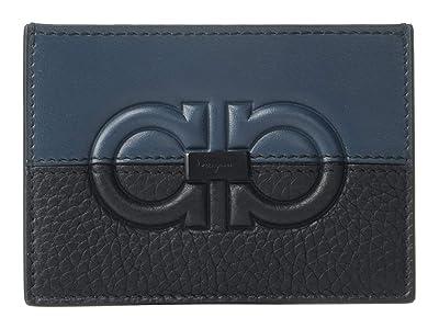 Salvatore Ferragamo Firenze Logo Card Holder 66A572 (Petrol/Black) Wallet Handbags