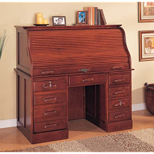 Roll Top Home Office Computer Desk in Cherry Finish by Coaster Furniture 802c2874cf