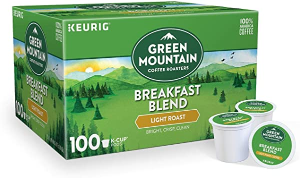Green Mountain Coffee Roasters Breakfast Blend Flavor Light Roast Coffee Keurig Single Serve K Cup Pods 1 Box Of 100 Count