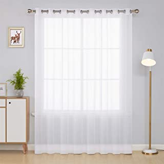 Deconovo White Wide Sheer Curtain Grommet Voile Drape Curtains for Living Room 1 Panel 100W x 84L Inch
