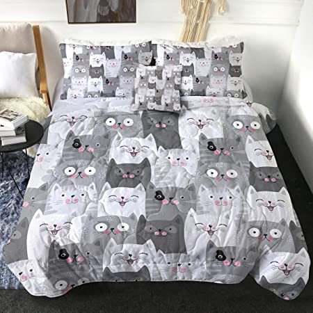 Sleepwish 4 Piece Cats Comforter Set for Twin Size Beds Grey and White Cats Bedding Sets 1 Cat Pattern Comforter 2 Pillow Shams and 1 Cushion Cover Teen Bedding for Girls Bedroom