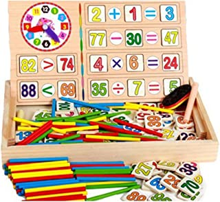 Ponny Children Number Cards Calculation Time Learning Tool Math Educational Toy Wooden Sticks Clocks Counting Rods with Storage Box.