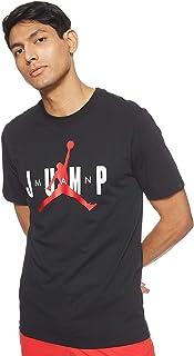 Nike Men's J Ctn Short Sleeve Jump Crew T-Shirt, Black (Black/Gym Red), Large