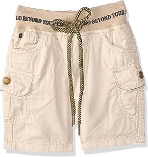 Giggles Drawstring Elastic Waist Cargo Shorts for Boys - Beige, 12-18 Months