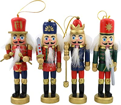 Needzo Classic Variety Hanging Christmas Tree Wooden Nutcracker Ornaments, 6 Inch