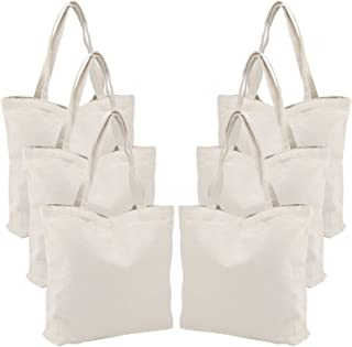 6 Packs Large Canvas Tote Bags, Segarty 20X15 Inch Reusable Grocery Bags, Heavy Duty Shopping Bags with Bottom Gusset, Natural White Cloth Blank Shoulder Bags Perfect for DIY Crafting Decorating
