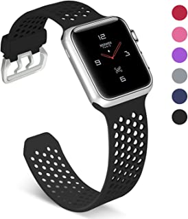 UMAXGET Compatible with Apple Watch Band 38mm/40mm, Soft Silicone Breathable Sport Band Compatible with iWatch Series 4, Series 3/2/1 Edition for Men Women