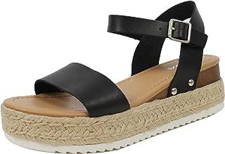 Soda Women's Open Toe Ankle Strap Espadrille Sandal,