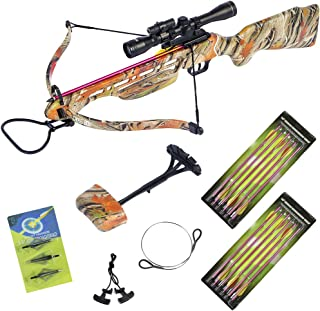 150 lb Black/Wood/Camouflage Hunting Crossbow Archery Bow + 4×20 Scope +7 Arrows +..