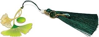 GINKGO segnalibri libri nappa verde perla anice oro Giappone ottone resina regali personalizzati regalo di natale annivers...