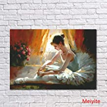 SANSNMI Ballet Girl Painting Modern Handpainted Figure Oil Painting Wall Art On Canvas For Living Room Home Decor,60cmx100cm
