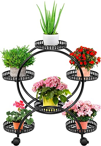 discount VIVOSUN Metal Plant Stand 4 Tier 6 Potted Flower Pot Holder with lowest 2021 Wheels Plant Shelf Plant Rack for Patio Garden Balcony Living Room Office Black online
