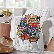 Luoiaax Youth Commercial Grade Printed Blanket Urban World Street Life Graffiti Art Spraycan Characters and Drippy Blotchy Letters Queen King W80 x L60 Inch Multicolor