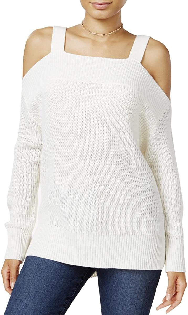Sanctuary Clothing Womens Amelie Cold Shoulder Pullover Sweater, White, X-Small