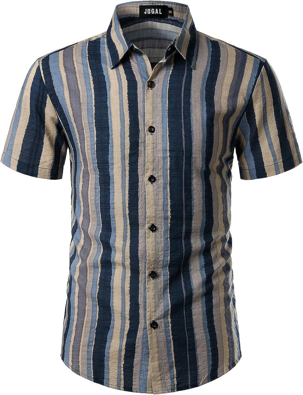 JOGAL Men's Vertical Striped Short Sleeve Button Down Shirts