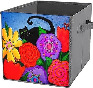 Cubes de rangement pliables en toile - Motif chat noir dans le jardin - Grande capacité - Panier de rangement pliable et p...