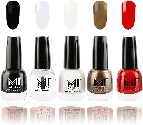 Mi Fashion Super Glam Nail Polish In 5 Trendy Shades - Jet Black,Top Coat,Milky White,Metallic Coffee & Vampire Red - 12Ml Each product image
