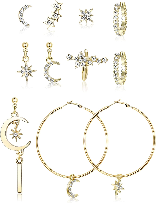 Besteel Pendientes Luna y Estrella para Mujeres Niña Circoniña Pendientes Aros Grandes Brillante Moda Stud Pendientes Joyería de Moda Regalo de Cumpleaños Dorado