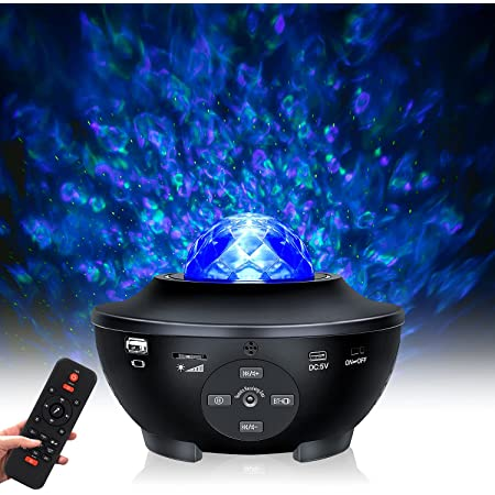 Lampe Projecteur LED Étoile, Projecteur de Veilleuse avec 10 couleurs et haut-parleur Bluetooth, projecteur Ocean light avec télécommande, compatible avec Flash USB, pour Cadeaux, Maison et Fête -Noir
