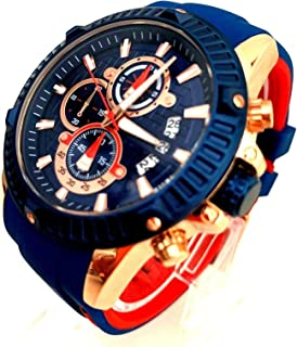 Men's Business Watch, Fashion Watch Chronograph (Blue, Alloy Case), Casual Quartz Wristwatch for Family Gift